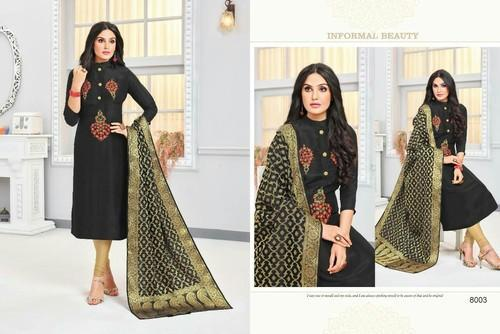 Black Party Wear Cotton Suit With Banarsi Dupatta