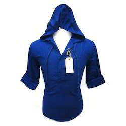 Cotton Plain Mens Hooded Shirts