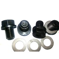 Mild Steel Oil Drain Bolts With Washers, 10 Pcs