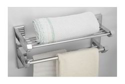 Wall Polished SS Towel Shelf With Double Towel Holder for Bathroom, Size: 25x51.5x18.5 cm