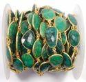 Emerald Gemstone Bezel Connector Chain