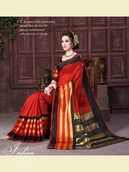 Silk Cotton Border Sarees with Blouse Piece