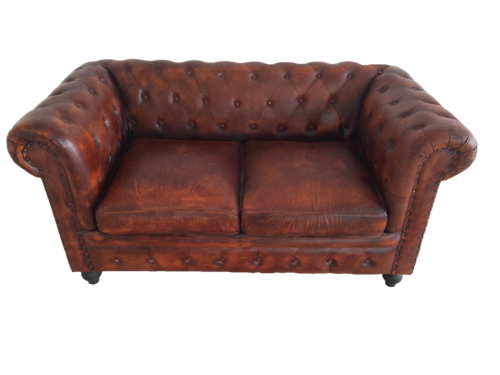 Tan Leather And Canvas Genuine Leather Chesterfield Sofa Rs 23000