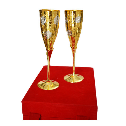 Gold Plated Long Wine Glasses