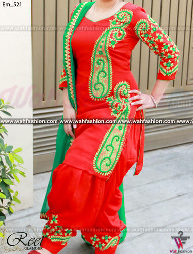 Dupion Silk Unstitched Stunning Red And Green Embroidered Punjabi