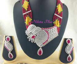 Nikita Plus American Diamond Mala Set