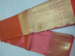 Pure Kanchipuram Silk Saree and Blouse, Length: 5.2 m