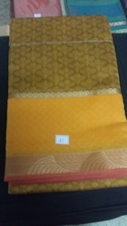 Embossed Silk Cotton Sarees With Rich Pallu And Blouse