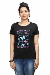 Women Round Neck Black T-Shirt