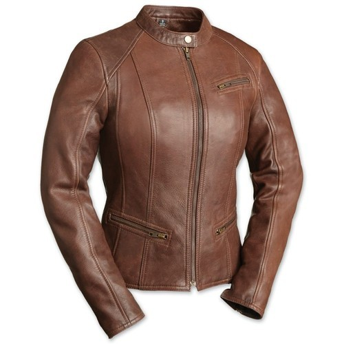 Full Sleeve Plain Ladies Leather Jackets