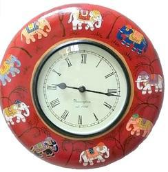 Handpainted Wooden Wall Clock
