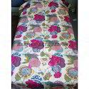 Fruit Print Hand Made Kantha Work Bed Cover (Gudri)