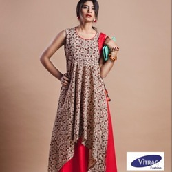 Vitrag Cotton Handloom Print Double Layer Kurti