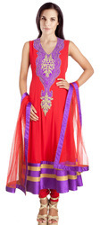 Red Chanderi Salwar Suit