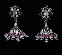 Jewels Dunia Silver Plated German Silver Oxidized Brass Stone Earring