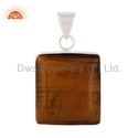 Square Shaped Tiger Eye Gemstone Sterling Silver Pendant