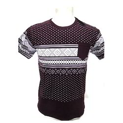 Half Sleeve Brown Mens Round Neck T-Shirt, Packaging Type: Packet