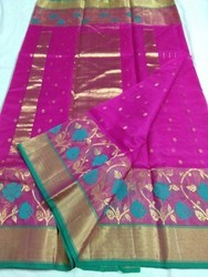 6.5 meter Fancy Chanderi Saree, With Blouse Piece