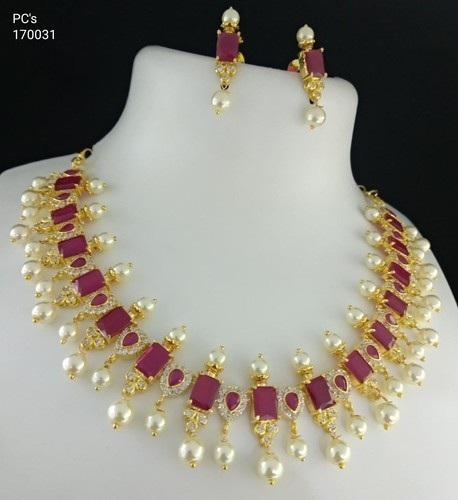 One Gram Gold Chain With Rubies