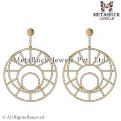 Yellow Gold Round Design Earrings