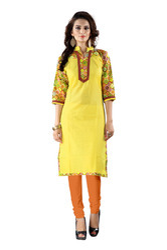 Ladies Yellow Printed Cotton Kurti