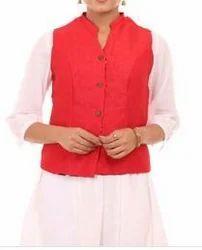 Red Art Silk Straight Jacket