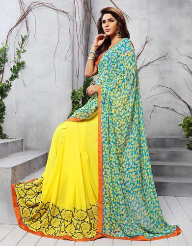 Floral Print Yellow Printed Saree, Dry clean