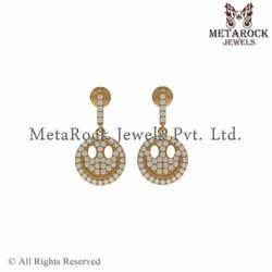 Latest Design 14k Yellow Gold Diamond Earring