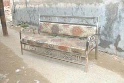 3 Seater Printed Stainless Steel Sofa
