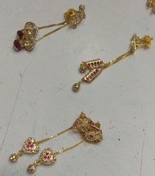 Sui dhaga gold earrings