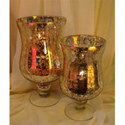 Silver Finish Glass Candle Holder