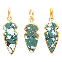 Green Turquoise Gold Electroplated Arrowhead Pendant