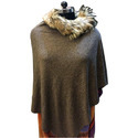Knitted Poncho With Raccoon Fur Collar