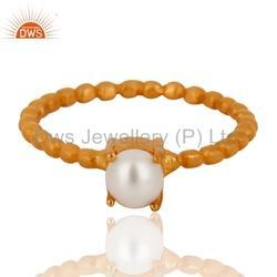 Pearl Handmade Gold Plated Silver Gemstone Ring