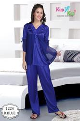 Full Length Blue Silky Night Suit