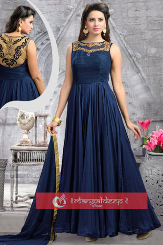 f4abbafbc8 Oracular Navy Blue Georgette Readymade Salwar Suit - Mangaldeep ...