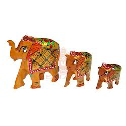 Wooden Painted Elephant Set