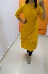 Ladies Cotton Yellow Kurti