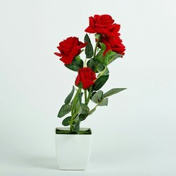 Hyperboles Artificial Red Rose Plant In White Pot