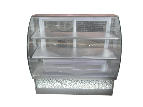 Stainless Steel Glass Design Bend Display Counter for Showcasing Products