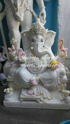 Choki Ganesh Marble Statue