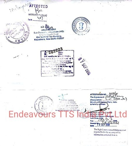 Certificate Attestation Malaysia Embassy In Mahipalpur Extension New Delhi Endeavours Tts India Private Limited Id 20142234797