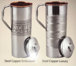 Emboss And Luxury Copper Steel Bottle Jug, Size: 1 Ltr