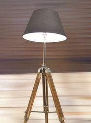 Nautical Floor Lamp - Wooden Tripod Lighting Stand Shade