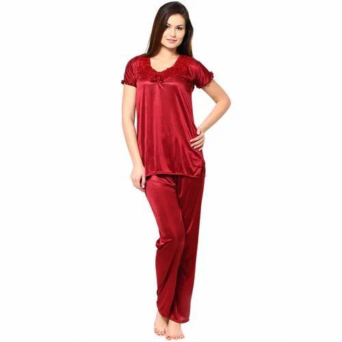 cb6546122f Maroon Satin Red Night Suit, Rs 220 /piece, Sale Swipe | ID: 13258001273