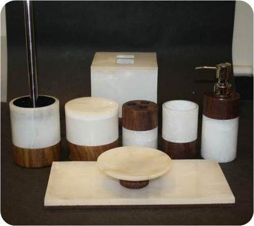 White Marble Sheesham Wood Bath Accessories