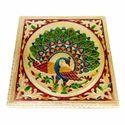 Small Rajwadi Chowki/ Bajot - Peacock Designed 10x10 Inch