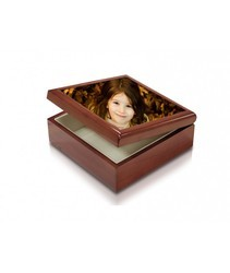 Square Brown Small Jewellery Box With Small Tile