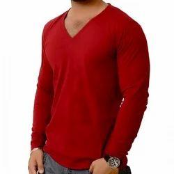V Neck Full Sleeves T Shirts