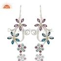 Flower Design Gemstone Fine Silver Earring